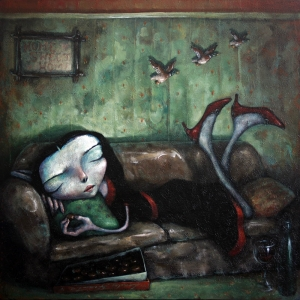 Girl on Couch By Tony Giles - SOLD